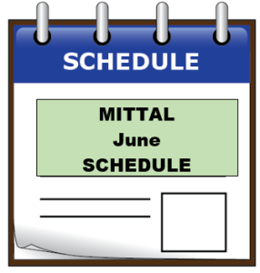 MITTAL june schedule
